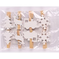 Karácsonyi fa dekorációs fehér mintás csipesz szet 5 cm 456645