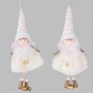 Karácsonyi akasztható szörmés anygalka fehér ruhában és sapkában arany cipővel 456980