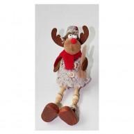 Karácsonyfadísz lógólábú szörmés rénszarvas figura 10 cm 456990