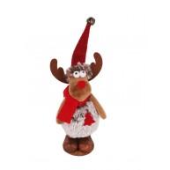 Karácsonyi dekoráció álló szörmés rénszarvas figura 15 cm 456991