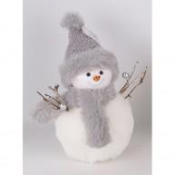 Plüss hóember figura karácsonyi dekoráció kötött sapkában 457067