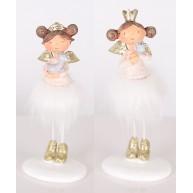 Álló karácsonyi dekoráció angyal kislány 12 cm 467597