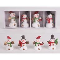 Kerámia polirezin hóemberes figurák karácsonyi dekoráció szett 468236