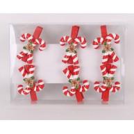 Kerámia polirezin cukorkampó nyalóka karácsonyi dekoráció 6db-os szett 468485