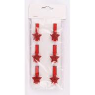 Kerámia polirezin piros csillag csipesz karácsonyi dekoráció 6db-os szett 468679
