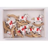 Kerámia hintaló öntapadós karácsonyi dekoráció 8db-os szett 468688