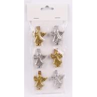 Kerámia angyal csipesz 6db-os szett 3-3 arany-ezüst 468689