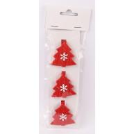 Kerámia polirezin karácsonyfadísz fenyőfa csipesz hópehellyel 468693