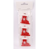 Kerámia polirezin karácsonyfadísz zokni korcsolya hópehellyel 3db-os szett 468694