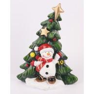 Kerámia karácsonyi dekoráció díszített dőlő karácsonyfa hóemberrel  14cm 468972
