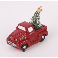 Kerámia polirezin teherautó fenyőfával a csomagtartóban karácsonyi dekoráció 468983