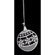 Csipke karácsonyfadísz, hópihés gömb 671585