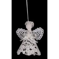 Csipke karácsonyfadísz, 3D angyalka 10cm 671582