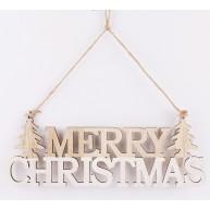 Karácsonyi dekoráció, fa felakasztható ajtódísz, MERRY CHRISTMAS felirat, natúr és fehér  481529