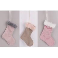 Karácsonyi dekoráció, plüss, szőrmés csizmák 3 színben, 3 darabos szett   481512