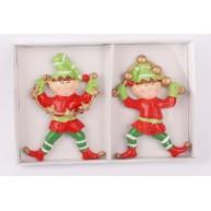 Kerámia polirezin karácsonyi manó dísz 2db-os 469950