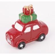 Kerámia polirezin piros autó csomagokkal karácsonyi dekoráció