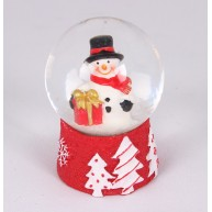 Kerámia polirezin hógömb hóemberrel és csomaggal karácsonyi dekoráció 473605
