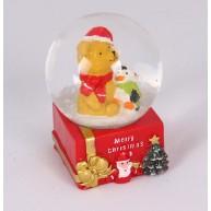 Kerámia polirezin hógömb macival és hóemberrel karácsonyi dekoráció 473606