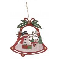 Karácsonyi harang formájú ajtódísz dekoráció hóemberrel 481463