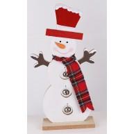 Karácsonyi hóember dekoráció fából 28cm-es 481468