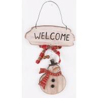 Fa ajtókopogtató karácsonyi dekoráció hóemberes 481486