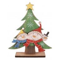 Fa karácsonyi dekorációs álló fenyőfa hóember fejekkel 481489