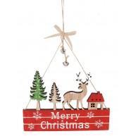 Karácsonyi ajtókopogtató rénszarvassal és házikóval Merry Christmas felirattal 452478