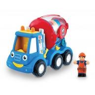 WOW Toys Mike betonkeverő játék, sofőrrel és útterelő táblával 10185