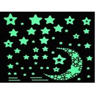 Foszforeszkáló matrica szett gyerekszobába csillagok és hold kirakó 2564