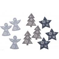 9db-os karácsonyfadísz kék-szürke fából 452444