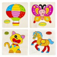 Formapuzzle 4db-os szettben - cica, pillangó, lovacska, hőlégballon 10975