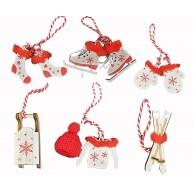 Karácsonyfadísz fából, fehér piros hópihés, szőrmével díszített  453202 6db-os szett