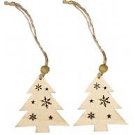 Natúr fa karácsonyfadísz fenyő formájú hópihés mintával 2db 456675