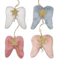 Karácsonyi dekoráció, szőrmés angyalszárnyak 4 színben, 4 darabos szett   481502