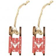 Piros fa karácsonyfadísz szánkó rénszarvasos mintával 8cm, 2db szett 456731