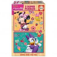 Educa Minnie egér boldog segítői fa puzzle, 2 x 16 darabos 17623