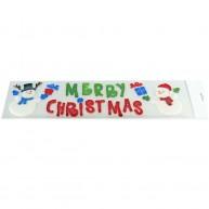 Zselés karácsonyi ablakdísz - 2 hóember Merry Christmas felirattal