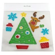 Zselés ablakdísz - karácsonyfa rénszarvassal és ajándékokkal 312621