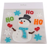 Zselés ablakdísz - hóember ho-ho-ho felriattal 312622