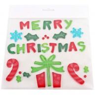 Zselés ablakdísz Merry Christmas felirat ajándékokkal