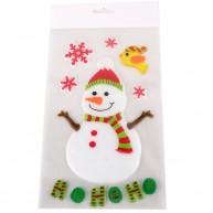 Zselés ablakdísz hóember ho-ho-ho felirattal, hópihével és madárkával 312609