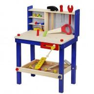 Játék barkácsasztal fából, kiegészítőkkel, szerszámokkal 6860