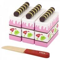 VIGA fa szeletelhető játék eper torta 4240B