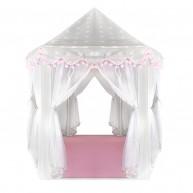 Hercegnős játszósátor halványszürke, rózsaszín dekorral és padlóval 8772