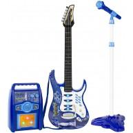 Elektromos gitár kék színben erősítővel és mikrofonnal 1554