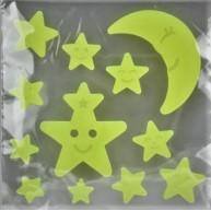 Zselés, fluoreszkáló ablakdísz - csillagok és a Hold