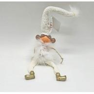 Karácsonyi dekoráció - lógólábú kislány fehér tollruhában hosszú kötött sapkával 42cm 430599