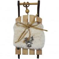 Karácsonyi fehér szörmés dekorációs szánkó rénszarvas fej díszitéssel 456564