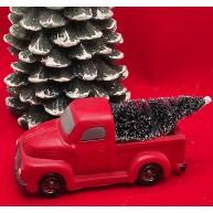 Fenyőfát szállító autó - piros